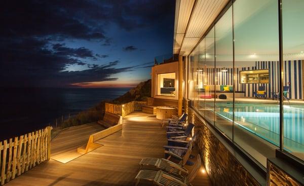 Pool terrace Watergate Bay Hotel Cornwall